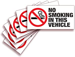 iSYFIX No Smoking Sign Sticker for Vehicles & Cars – 6 Pack 3x1.5 inch – Premium Self-Adhesive Vinyl, Laminated Ultimate UV, Weather, Scratch, Water Fade Resistance, Indoor & Outdoor