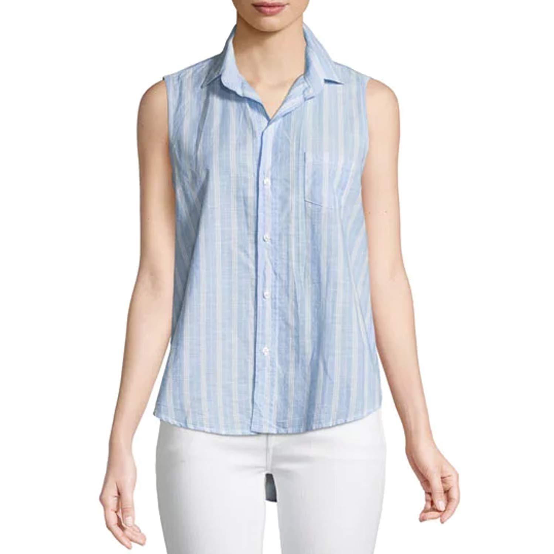 Frank Eileen Womens Fiona Sleeveless Collared Shirt Bluethin