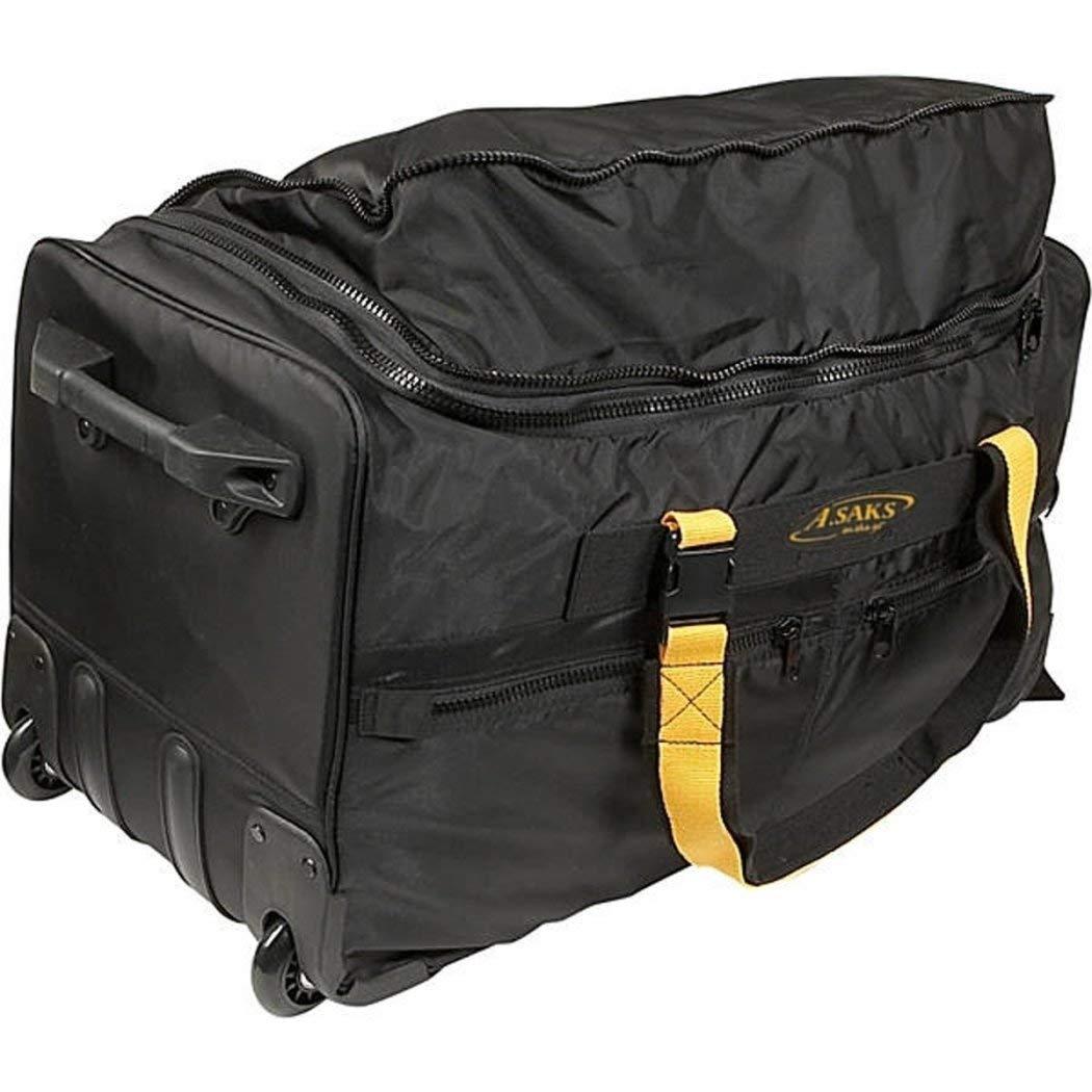 Black Lightweight Wheeled Duffle Bag Solid Pattern Business Softside,