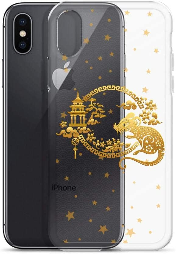 Compatible for iPhone XR Cases 2020 Happy Chinese New Year of The Rat Gold Mouse Design Anti Bumps Scratches