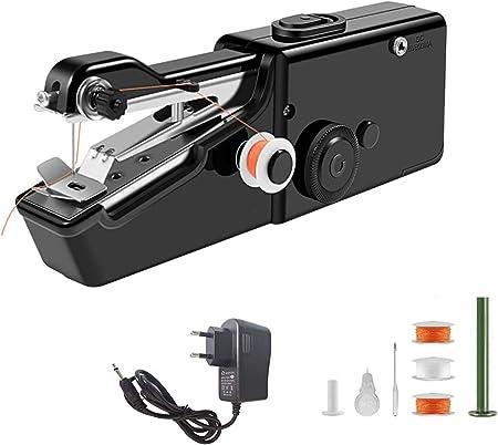 Máquina de coser portátil de mano MEETOZ, máquina de coser eléctrica de mano inalámbrica, ropa de tela de costura para niños, ropa para mascotas (negro): Amazon.es: Hogar