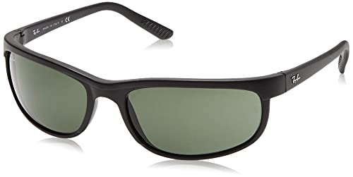 Ray-Ban Mens RB2027 Predator 2 Rectangular Sunglasses, Blue On Black/Green, 62 mm