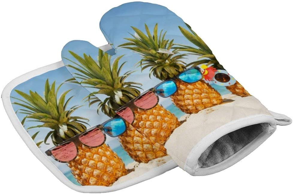 July-Seven Beach Pineapple Oven Mitts,Professional Heat Resistant Microwave BBQ Oven Insulation Thickening Cotton Gloves Baking Pot Mitts with Soft Inner Lining