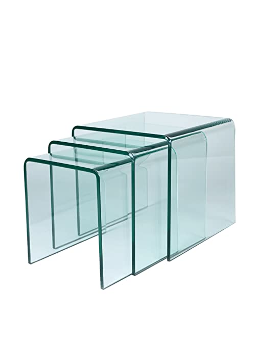 SuperStudio Lo+deModa Set Mesa Auxiliar 3 Piezas Glass ...