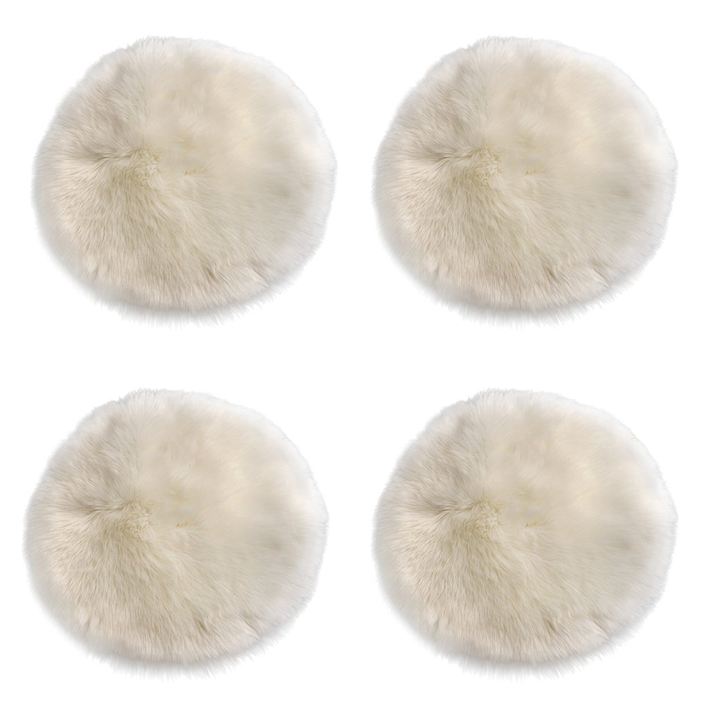 Dovewill 4 Piece Fluffy Round Faux Sheepskin Area Rug Carpet Float Window Mat Seat Cushion 40x40cm White
