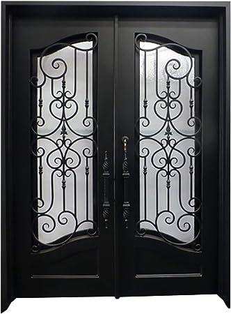 Puerta de entrada de hierro forjado con panel de cristal operable: Amazon.es: Bricolaje y herramientas