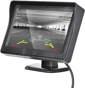Pantalla LCD a color de 4.3 Pulgadas Monitor de Coche Vista Posterior Monitor Externo Cámara de Reserva de Auto Monitor Vista Posterior Pantalla LCD Pantalla Externa Apto para Todo Tipo de Vehículos.: