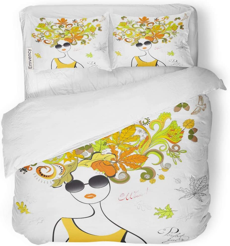 "Tarolo Bedding Duvet Cover Set Model Girl Autumn Hair Wow Bird Face Floral Flowers 3 Piece Twin 68""x90"" Quilt Cover with Zipper Closure"
