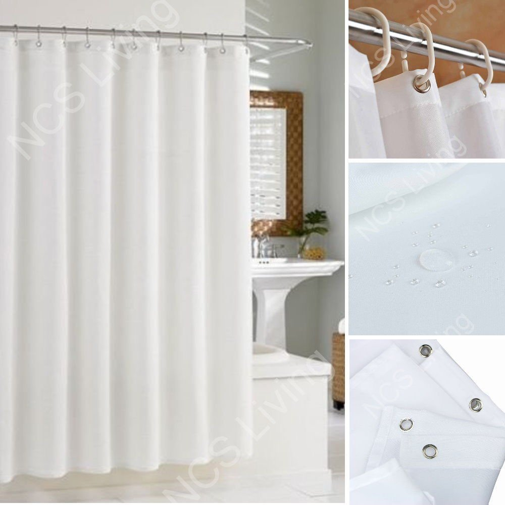 Extra Long Wide Extra Drop Waterproof Fabric Shower Bathroom Curtain With Hooks (W 180 X 200cm L (1.8M x 2M), White) NCS