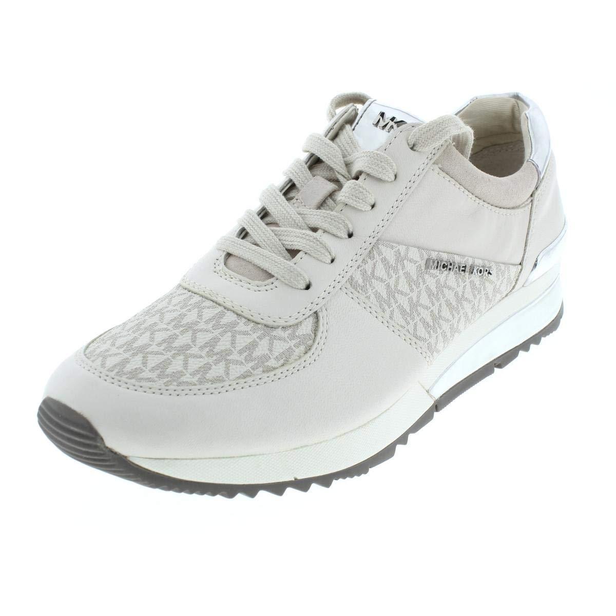 Michael Michael Kors Womens Allie Leather Sneakers Trainers Ivory 5 Medium (B,M)