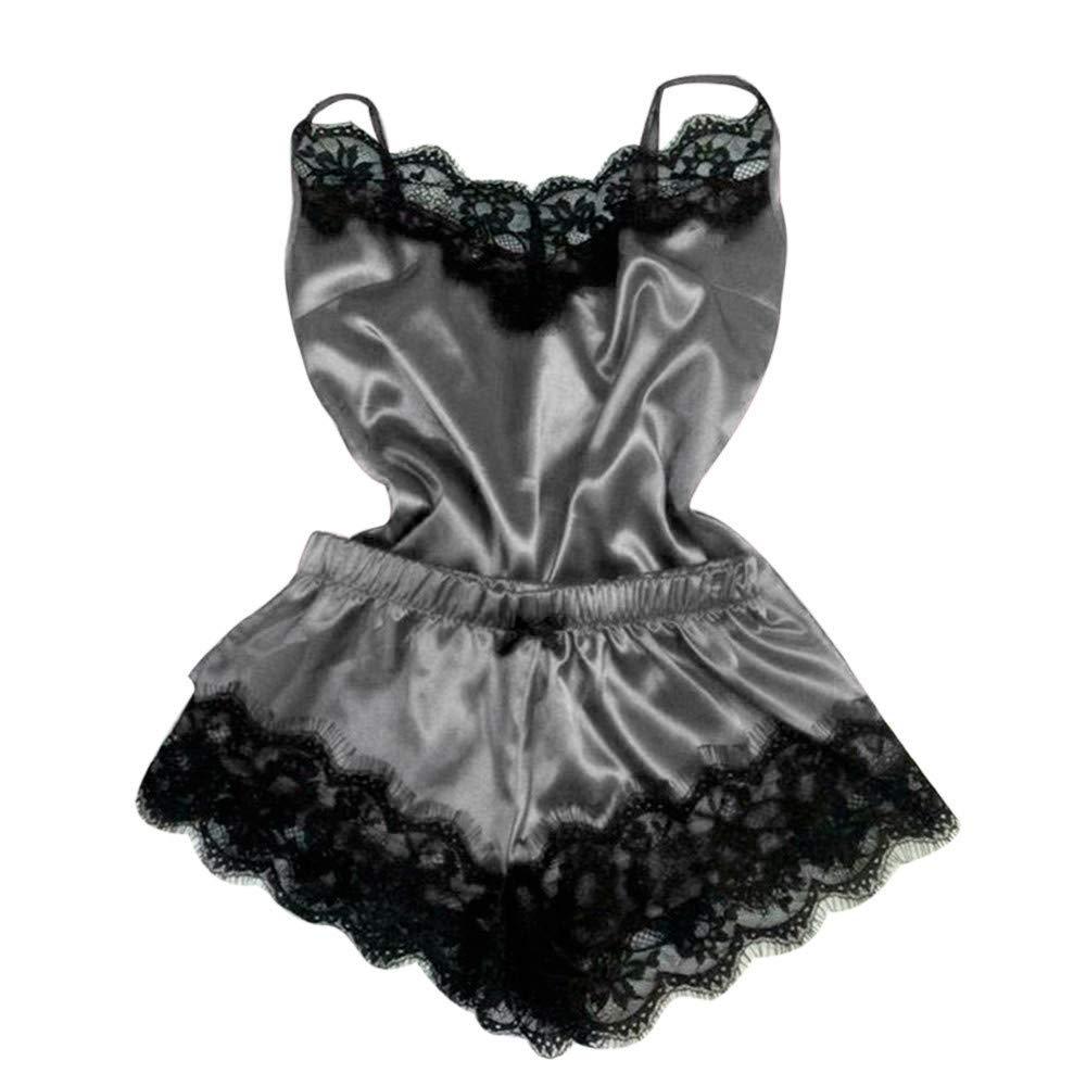 Ruziyoog Women Sexy Lingerie Sleepwear Temptation Babydoll Underwear Lace Nightwear (S, Gray)