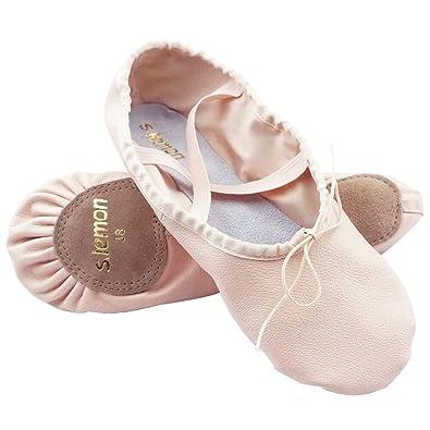 dcc8f2f972b55 s.lemon Premier Niveau Couche Supérieure Cuir Chaussons de Danse Chaussures  de Ballet Pantoufles pour