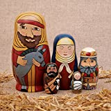 "Bits and Pieces - 5pc Nesting Doll Holy Family -The Nativity Family Hand Painted Hand Made Wooden Nesting Dolls Matryoshka Nativity Figurines - Set of 5 Dolls From 5.5"" Tall"