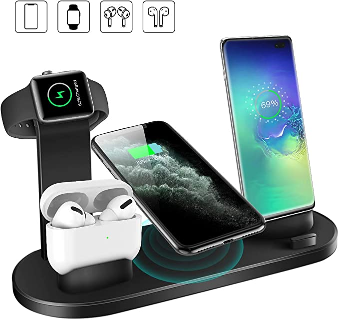 Wireless Charger, 4 in 1 Qi Certified 10W Fast Wireless Charging Stand for Airpods Apple Watch, Wireless Charging Station for iPhone 1111 Pro11Pro