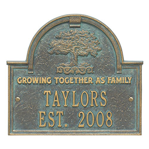 (Whitehall Personalized Family Tree Custom Indoor/Outdoor Anniversary Aluminum Wall Plaque - Verdigris)