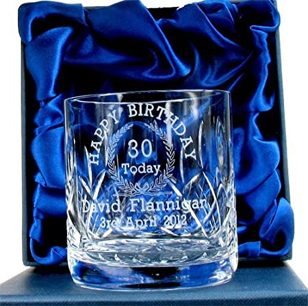 30th Birthday Whisky Glass For Him Personalised Gifts