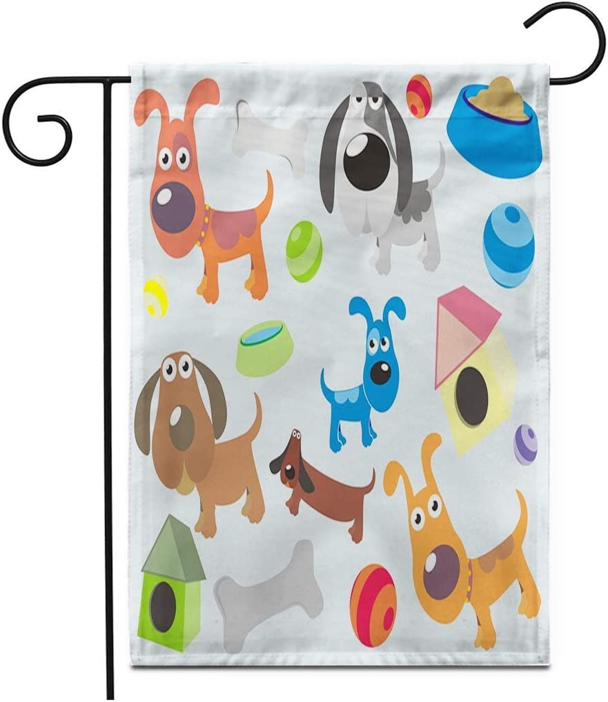 JUCHen Colorful Bone Dog Puppy Pet Cartoon Ball Bowl Eat Garden Flag 12.5X18 Inch Double Sided Decorative Small Yard Garden Flagsfor Outside Season Outdoor Decorations