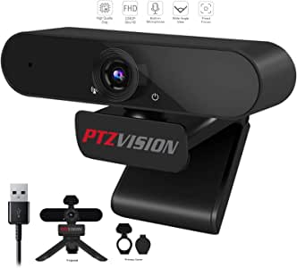 1080P HD Webcam with Mic, PTZ VISION 360 Degree Rotate External USB Video Camera for Desktop PC,Widescreen Plug and Play Streaming Web Camera with Tripod