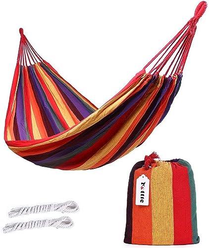 ValueHall Outdoor Soft Cotton Fabric Brazilian Hammock Double Wide 2 Person Travel Camping Hammock V7010-1 Orange