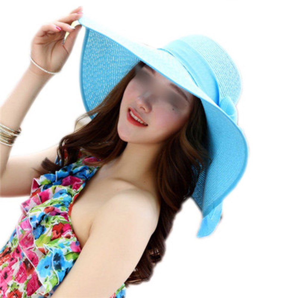 LOVEHATS New Fashion Women Elegant Beach Cap Sun Hat Adult Flower Beach Cap Bowknot Wide Brim Summer Hats sky blue adult 58cm