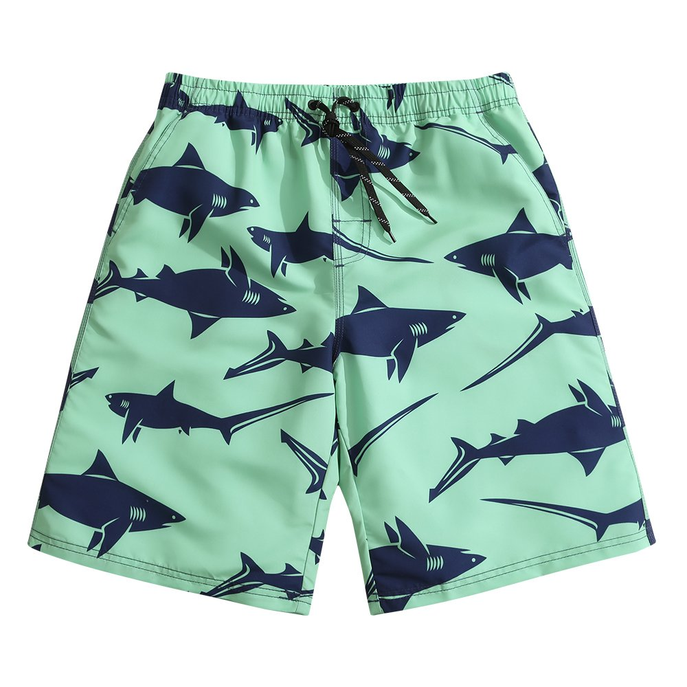 SULANG Men's Lightweight Quick Dry Predator Graphic Board Shorts Large 34-35,Green Shark