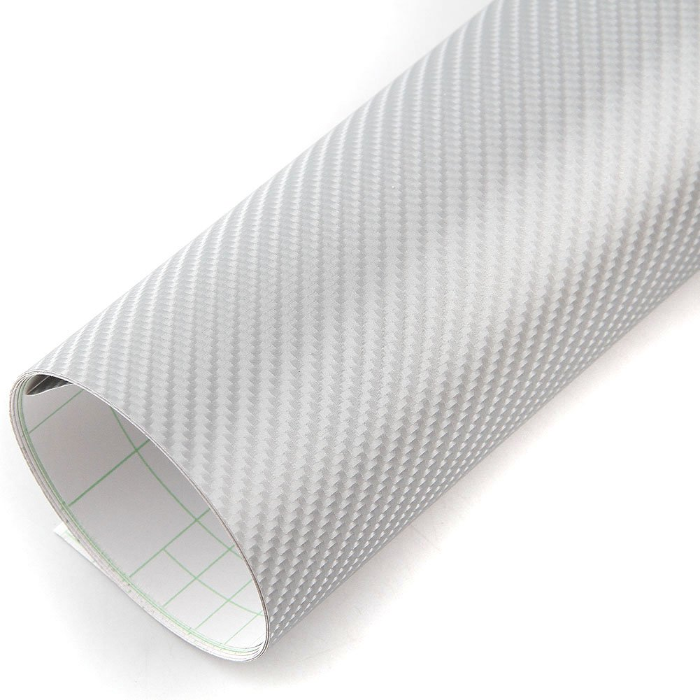 PEATOP Carbon Fibre Vinyl Wrap Bubble Free Air Release 4D Texture Sheet Roll Anti-Wrinkle Silver (60' x 12' / 5FT x 1FT) CAIKU