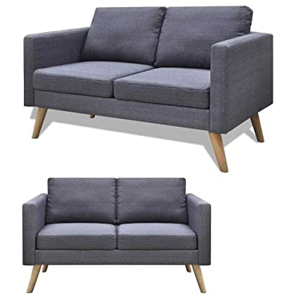 Amazon.com : Cirocco 2-Seater Couch Sofa Loveseat Fabric Gray ...