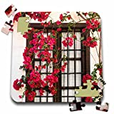 3dRose Spain, Andalusia. Cordoba. Red Bougainvillea and House Window. - Puzzle, 10 by 10-inch