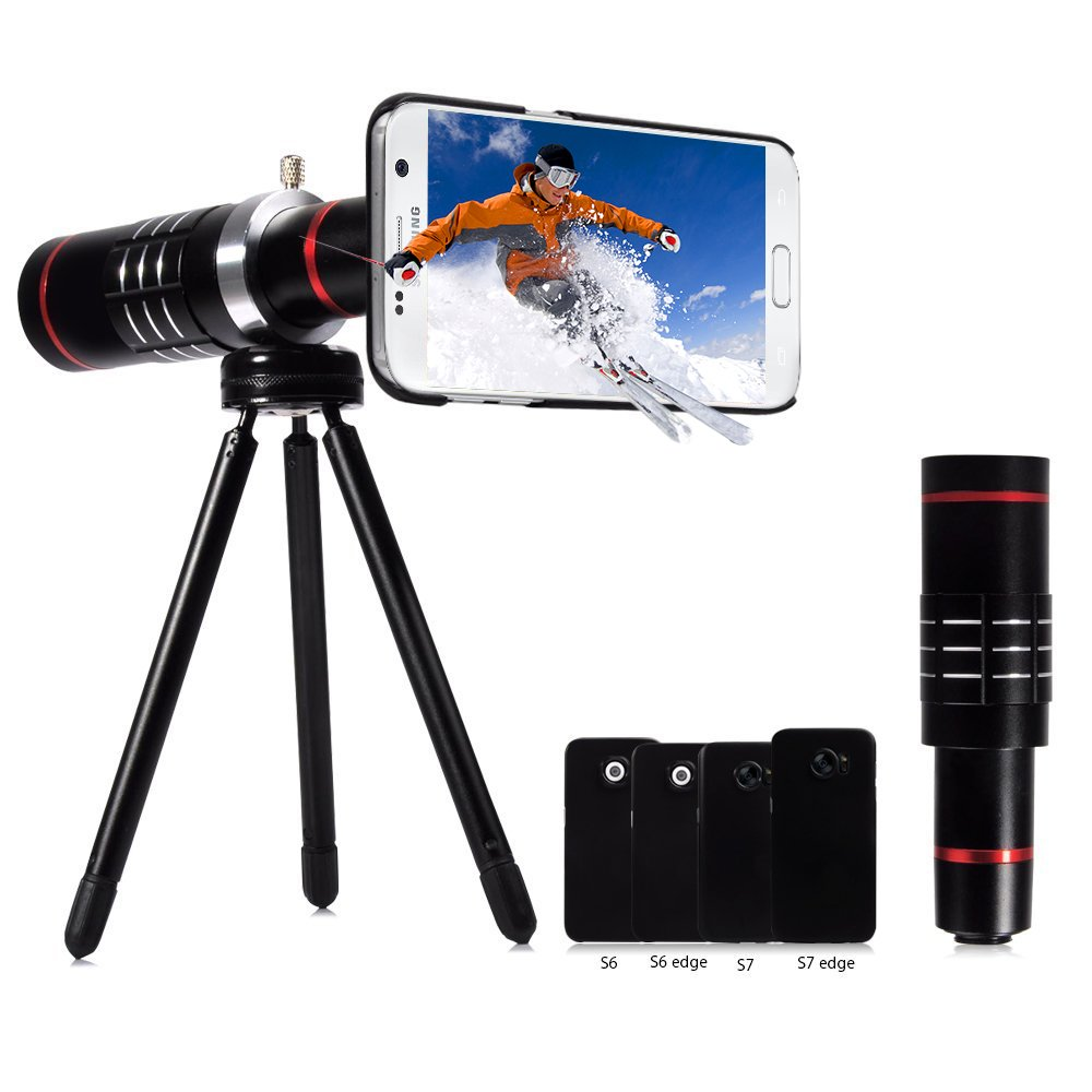18X Professional Telephoto Lens,Evershop Aluminum Telephoto Lens Phone Camera Lens Kit with Tripod + Phone Cases for Samsung Galaxy S7 Edge/S7/S6 Edge/S6(Total 4 models,not for S6 Active)