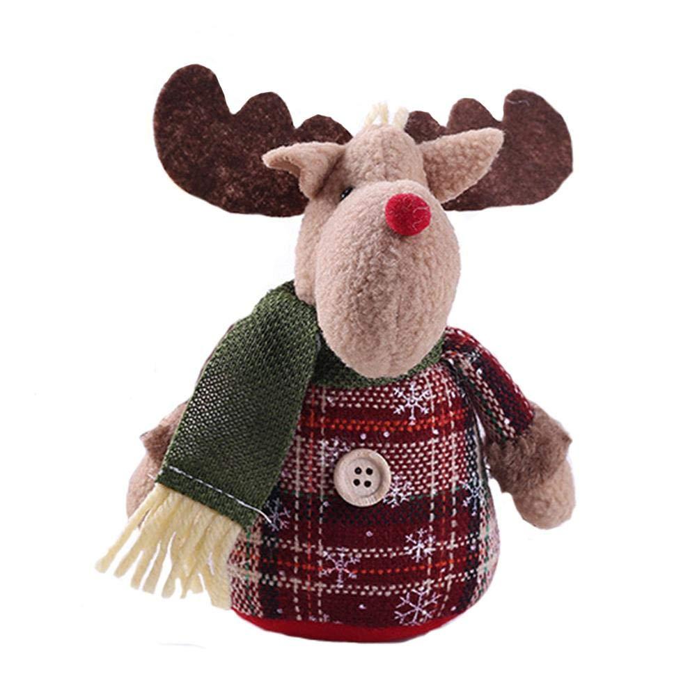iYoung Natale adorabile Old Man Doll Desktop decorazione pupazzo di neve alce albero di Natale decorazione bambola regalo per bambini per la decorazione della stanza