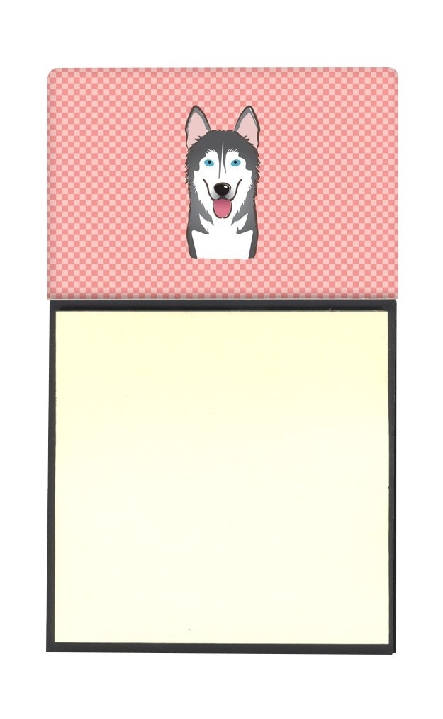 Carolines Treasures Checkerboard Pink Alaskan Malamute Refillable Sticky Note Holder or Postit Note Dispenser 3.25 by 5.5 Multicolor
