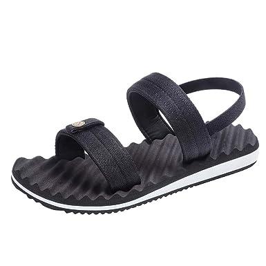 ccd779ec989 HOSOME Men s Fashion Elastic Band Flat Beach Sandals Outdoor Slide Skid Shoes  Black