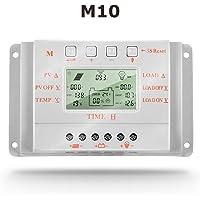 SolaMr 10A Regulador de Carga Solar 12V/24V Identificación Automática Voltaje Panel Solar Regulador de Inteligencia con Pantalla LCD - M10
