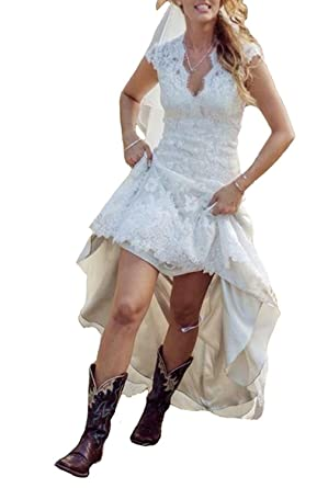 GMAR Vintage Lace Country Wedding Dresses V Neck High Low Bride Evening Gowns