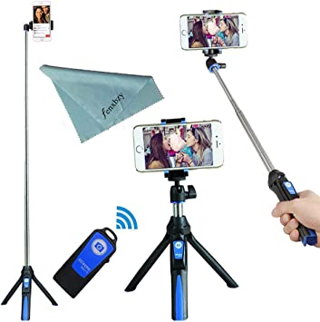Color : Black, Size : One Size 3 in 1 Bluetooth Remote Shutter Portable Handle Selfie Stick Mini Table Tripod for iOS Android for Travel and Work Phone Tripod