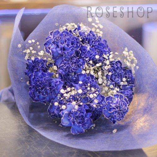 青いカーネーション 20本の花束(キラキラ白いかすみ草付き)花言葉「絆」 B00I7PVN38