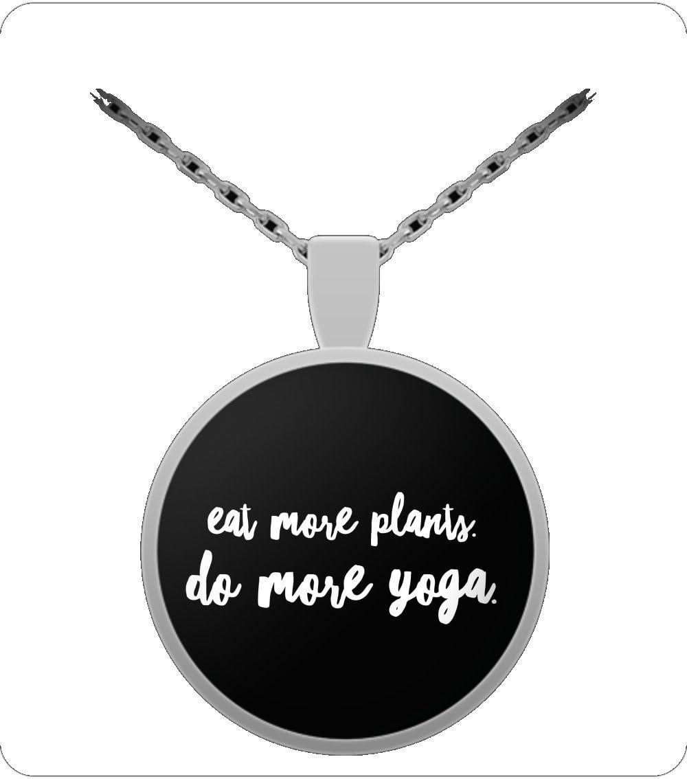 Amazon.com: Eat More Plants. Do More Yoga. Necklace: Sports ...