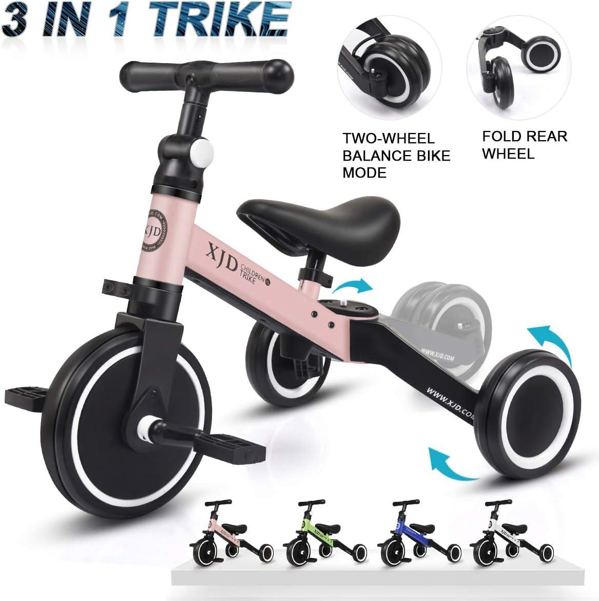XJD 3 en 1 Triciclo para Niños con Pedales Ligero y Plegable Triciclo Bicicleta para Niño y Niña de 2 a 4 años con CE Certificación con Bolsa de Transporte (Rosa Claro)