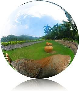 Juvale Gazing Globe Mirror Ball - Silver Stainless Steel Garden Sphere, 11.53 Inches Diameter