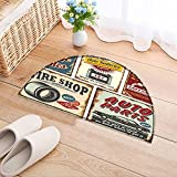 NALAHOMEQQ Flowers Semicircle Carpet Vintage car service metal signs and posters vector Thickening Mats(31.5x19.7 INCH)