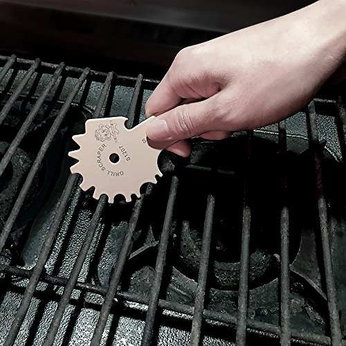 Grill Scraper Barbeque Grate Cleaner Stainless Steel with Long Handle (2018 New Design) For Effective Cleaning of BBQ Grate Grills with Bottle Opener and Griddle Cleaner incdule S-hook, Khaki
