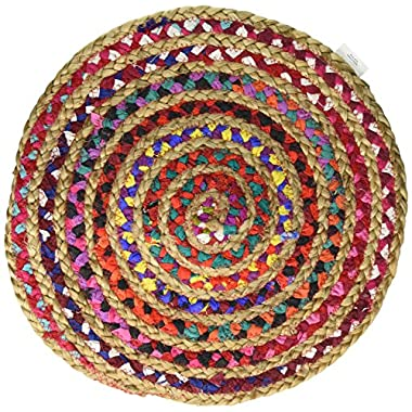 Cotton Craft - Hand Woven Reversible Jute & Cotton Multi Chindi Braid Rug - 6 Feet Round - This Rug is made from multi color re-cycled yarns, actual product may vary in color from the image shown