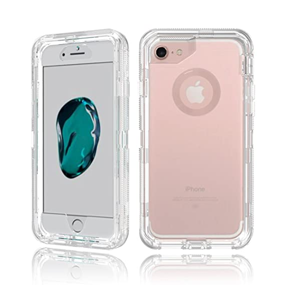 online retailer 23c9c d69d6 iPhone 8 / iPhone 7 Heavy Duty Clear Transparent Case with Two PC Hard  Plastic Interior Case and Shockproof Outer Layer Skin Protection for Apple  ...