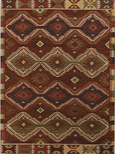 AMER Makamani 3 Hand-Woven Area Rug, 3x5, Burnt Sienna (Sienna Wool Rug Burnt)