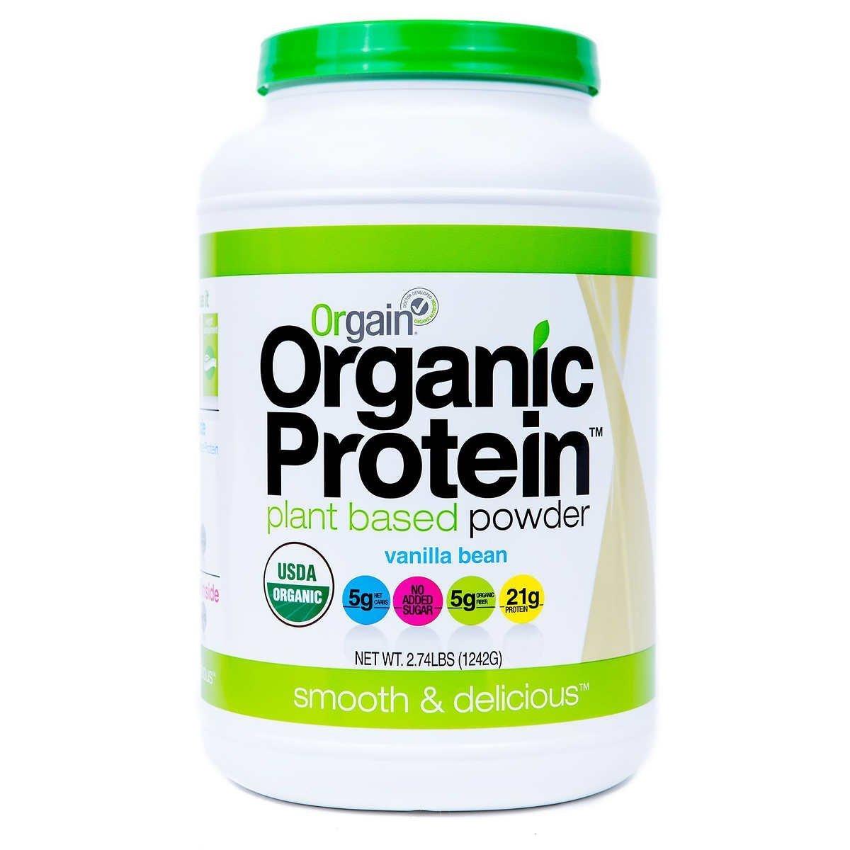 Orgain Organic Plant Based Protein Powder (Sweet Vanilla Bean, 2.74lb Tub)