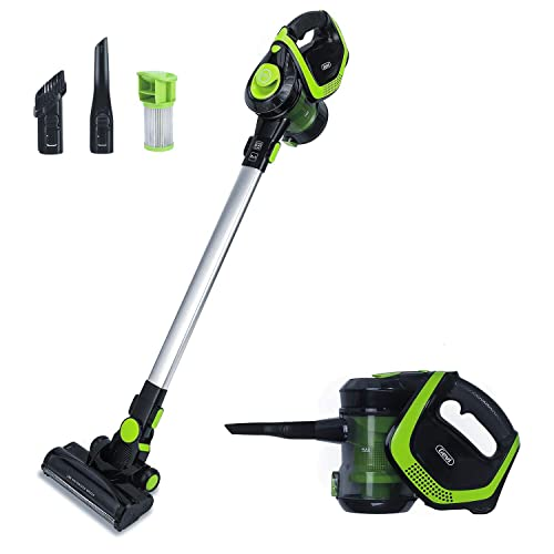 2 in 1 Upright Stick and Handhold Powerful Suction Vacuum Cleaner with Cordless Design and HEPA Filter, Lightweight and Rechargeable Wall Mounted Design Green