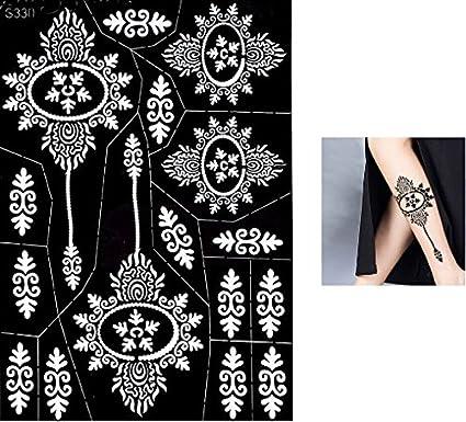 S330 - Plantillas para tatuajes Mehndi de henna, con purpurina o aerógrafo,