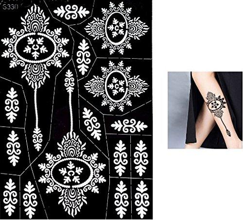 Grande Foglio Mehndi Tattoo Stencil Mehndi Tatuaggi all'hennè S330 - Usa e getta - Per Tatuaggio all'henné, scintillio tatuaggio e airbrush tatuaggio Tie