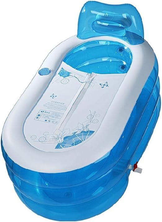 & bañera plegable Bañera Pliegue adulto niño PVC transparente Bañera inflable Doble drenaje Engrosamiento independiente Tres capas Inflado barril de baño piscina desmontable (Size : 130*70*70) : Amazon.es: Hogar