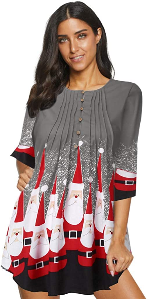 Bsjmlxg Women Xmas Printed Tops Short Sleeve O Neck Pleated Crinkle Chest Blouse Curved Hem Casual Flare Tunic Shirt